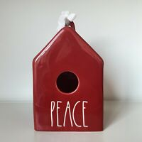 New Rae Dunn Red PEACE Square Birdhouse - Christmas 2020