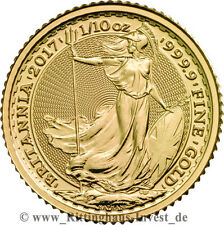 Britannia 1/10oz Goldmünze zehntel Unze Gold 2017 Royal Mint 999.9 Feingold