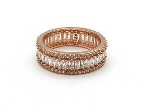 925 Sterling Silver White Zircon Women's Ring Size 8 US Rose Gold