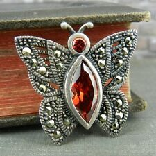 Sterling Silver & Marcasite Butterfly Pin / Brooch