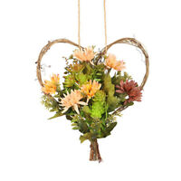Artificial Flower Garland Door Wall Hanging Wreath Party Xmas Decor Heart Shaped