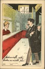 French Bathroom? or Telephone Booth? Humor c1915 Postcard