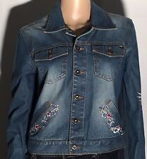 Tommy Jeans Hilfiger Brand Sun Heart Flowers Womens XL Button-Front Denim Jacket