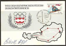 """Offizielle Maximumkarte Olympia 1976 Fackellauf """" Innsbruck """"  Christl Haas"""