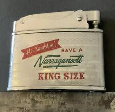 Vintage Narragansett Beer Flat Advertiser Lighter Hi Neighbor Atc Japan Rare