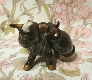 Kitch Cow Cruet Set 50s 60s Brown and Golden Horned Saddled Bull Marked Foreign