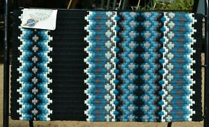 "Mayatex Gemini Show Saddle Blanket Pad 40""x 34""- Black/Soft TQ/Ocean Blue/Grey"
