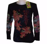 New Women's Ed Hardy Long Sleeve Specialty T Shirt Black Stretch Love Cross
