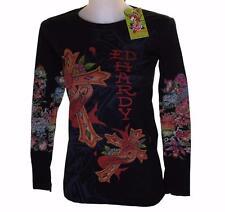 New Women's Ed Hardy Long Sleeve Specialty T Shirt Black Stretch Love Cross