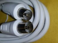 1.5M White RF TV Aerial Lead Plug to Socket Cable Male Female Coaxial Extension