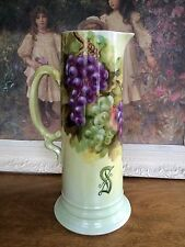 ANTIQUE JPL FRANCE LIMOGES GRAPES TANKARD