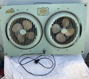 """Vintage Turquoise 1950's Lasco Window """"Twindolator"""" Fan Model #73"""
