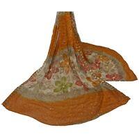Sanskriti Vintage Dupatta Long Stole Georgette Orange Hand Embroidered Kantha