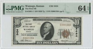 1929 T1 $10 First NB Wamego Kansas FR#1801 CH#3434 PMG CH Unc 64 EPQ