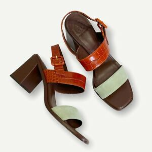 NEW Tory Burch Delaney Double Strap Leather Sandals, Sage Garden, 9