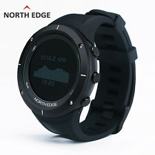 North Edge Men Sport Smart Watch Water Resistant Barometer Thermometer Pedometer Black Rubber Band