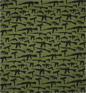 "Olive Drab & Black Gun Rifles All Over Print Design Cotton Bandana 22"" x 22"""