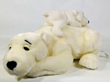White Polar Bear Mother Baby Cub on Her Back Plush Kids of America Stuff Animal
