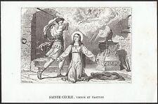 Hl. Cäcilia / Papst Clemens I - St. Santa Cecilia - Stahlstich 19.Jh