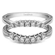 Sterling Silver Double Shared Prong Contour Ring Guard (0.49tw)