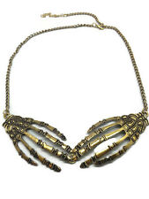 Halloween Skull Hand Necklace Pendant Skeleton Bone Claw Punk Jewelry Charm Gold