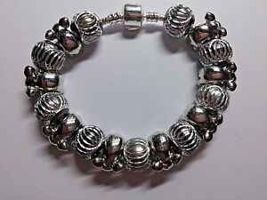 European Style Bracelet With 8 Silver ELEPHANTS and 9 Acrylic Spacer Charms