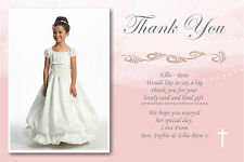 40 Personalised Girls Pink Holy Communion Thank you Cards Ref CT1 With Envelopes