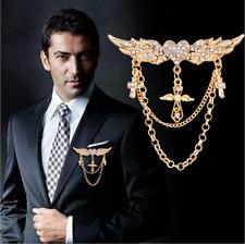 Angel Wing Cross Tassel Gothic Punk Brooch Pin Men Lapel Suit Wedding Jewelry BP