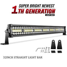 Tri Row 32inch 585W LED Light Bar Spot Flood Combo For Jeep Offroad 4WD RZR 34""