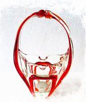 "Vintage MURANO GLASS Ashtray Free Form Basket 7 5/8th"" Tall"