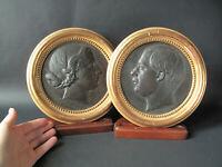 Alfred Louis HABERT, Portraits de profil en bronze, fonte d'Eck et Durand, 1858