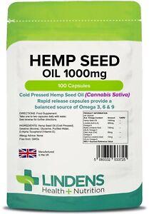 Hemp Seed Oil Capsules 1000mg High Strength 100 Softgels Omega 3&6 Lindens