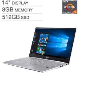 "New Acer Laptop 14"" IPS FHD Ryzen 5 6-Core 8GB 512GB SSD Backlit kB Fingerprint"