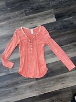 Free People Chilton Lace Up Acid Wash Long sleeve Top Size M