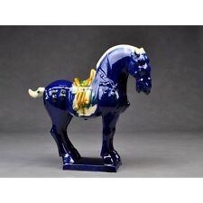 """Tang-Pferd """"Tiefblau"""" chinesische Pferdeskulptur Keramik Pferdefigur China"""