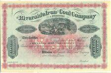 Riverside Iron & Coal Company of Scranton Stock Certificate Pennsylvania Mining
