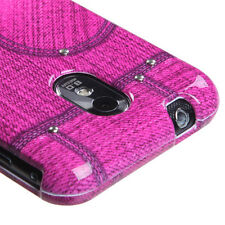 Pink Jeans w/Stud Snap-On Hard Case Cover Samsung Galaxy S2 4G Sprint Boost