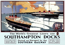 RMS Queen Mary & SS NORMANDIE OFF Spithead Southampton DOCK VIAGGIO POSTER stampati