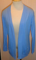 Ladies Dana Buchman Blue Geo Blouse Cardigan Open Front Top Size XS, S, M, L, XL