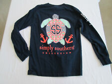 Simply Southern Long Sleeve T Shirt Graphic Tee Sea Turtle Size S Navy Blue
