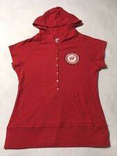 Wisconsin Badgers Juniors Xl Red Thermal Circle Patch Short Sleeve Hoodie
