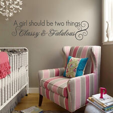Inspiration Wall Decal CLASSY & FABULOUS Quote Vinyl Art Child Girl Room Decor