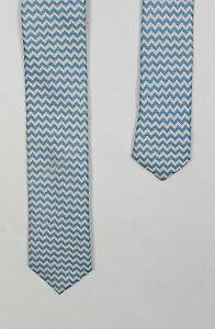 Ted Baker - Blue/White Zigzag Woven Silk Tie - One Size - *NEW WITH TAGS* RRP£59