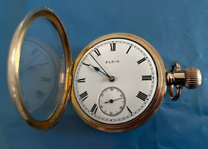 ELGIN Gold Plated Vintage Pocket Watch Grade 292 Size 16s 7 Jewels