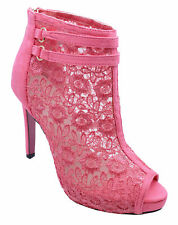 WOMENS PINK LACE OPEN-TOE ZIP-UP STILETTO ANKLE BOOTS ELEGANT SHOES SIZES 2-7