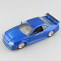 1:32 scale jada Nissan SkyLine GTR R34 fast & furious race Car Diecast Toy model
