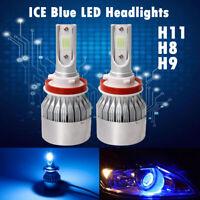 2X H11 H8 H9 1500W High Power 8000K Ice Blue COB LED Headlight Kit High Low Beam