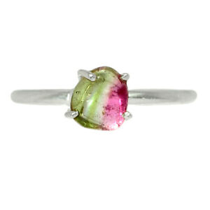 Watermelon Tourmaline 925 Sterling Silver Ring Jewelry s.7 BR73001