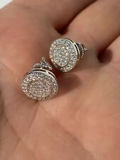 Hop Men's Earrings Large Studs Screw Backs Real Solid 925 Silver Iced Cz Hip