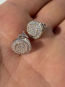 Real Solid 925 Silver Iced CZ Hip Hop Men's Earrings Large Studs Screw Backs